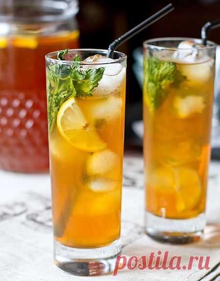 Ледяной чай с имбирём, лимоном и мятой