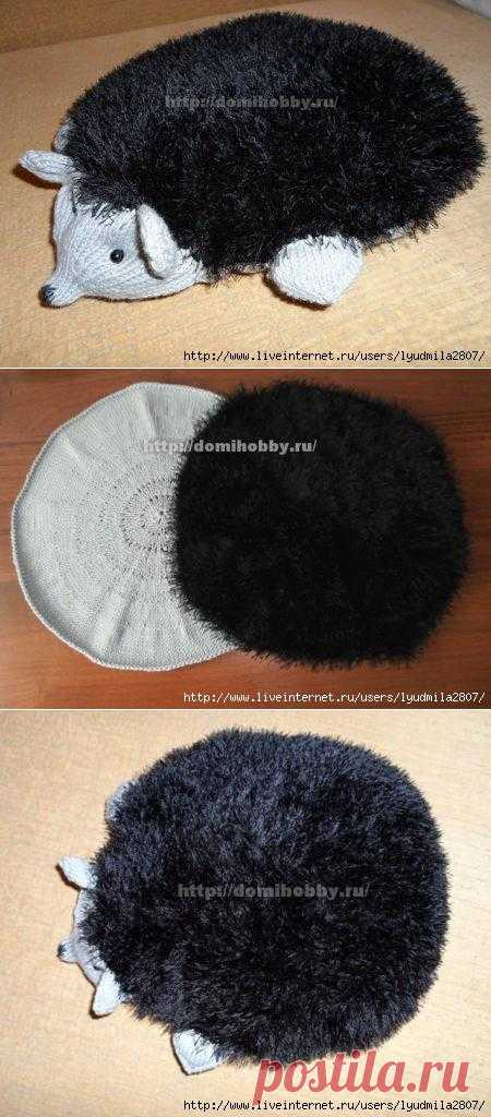 """We knit a pillow toy """"Ёжик"""" spokes. Connect to the pillow-hedgehog child, with it it is possible to play and fall asleep, this knitted hedgehog unlike the present - soft and fluffy."""