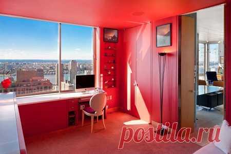 кабинет в красном цвете