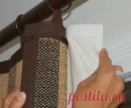Идея: как повесить две шторы с помощью липкой ленты (ленты велкро)