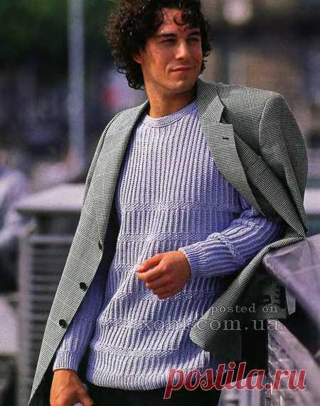 мужской пуловер с рельефными узорами