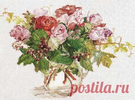 Розы вариант 5, схема вышивки крестом