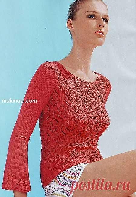 Красный ажурный пуловер спицами | Вяжем с Ланой
