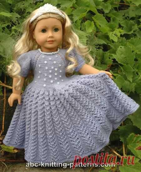 ABC вязание узоры-американская девушка кукла Снежная принцесса платье