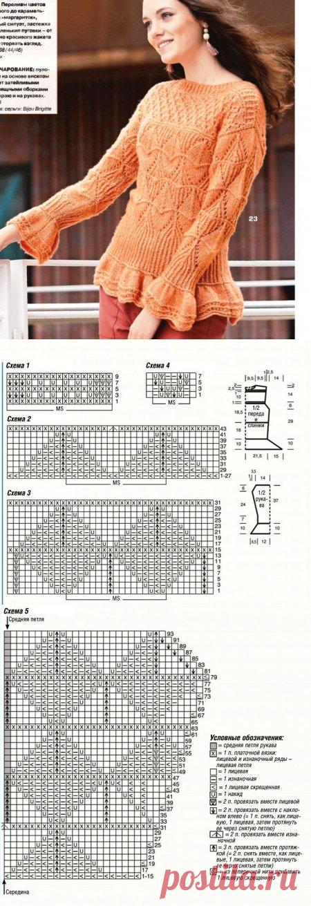 Вязание кофты с сочетанием узоров и оборками