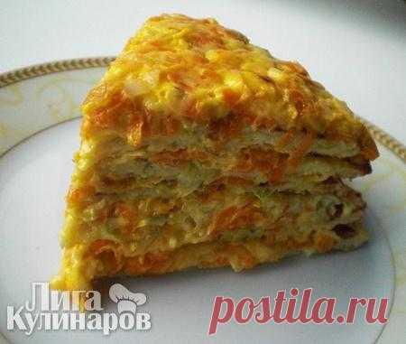 Торт из кабачков с сырно-овощной начинкой — рецепт пошаговый от Лиги Кулинаров