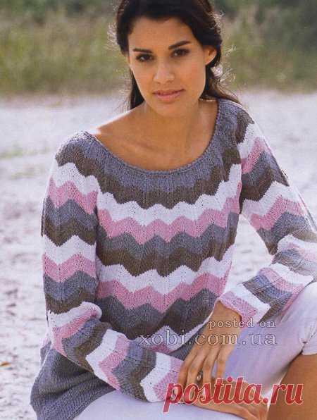спицами фото и схемы пуловер женский зигзаг для