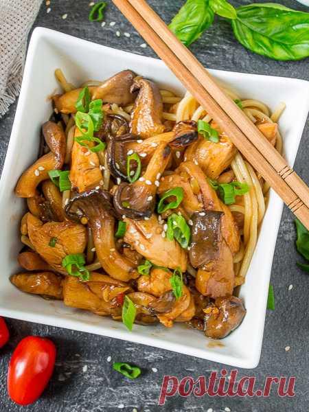 Рецепт курицы в кисло-сладком соусе с вешенками