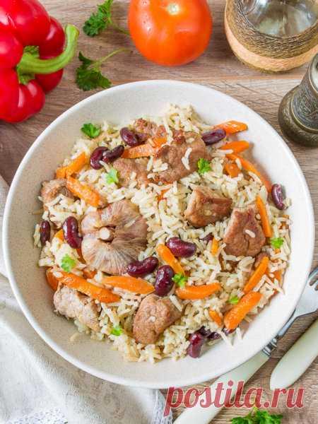 Рецепт быстрого плова со свининой и фасолью