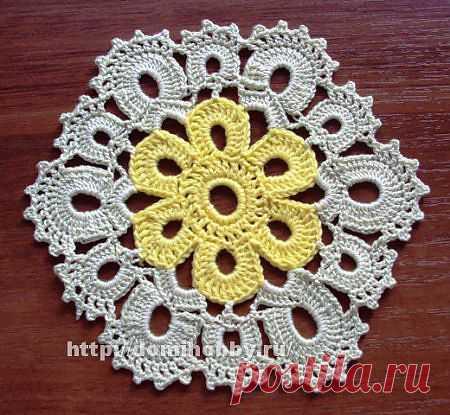Шестиугольный цветочный мотив для вязания крючком