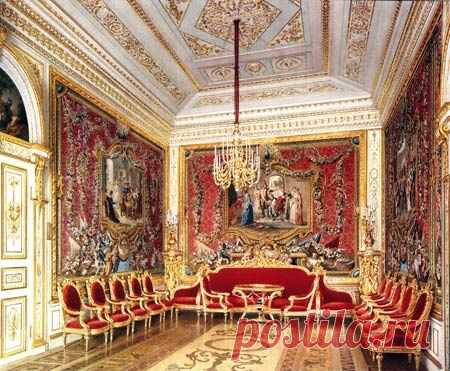 The Gatchina Palace, Russia. The Crimson Drawing Room. Designed V. Brenna (1790s). Water-colour by L. Premazzi, 1872. THE CRIMSON DRAWING ROOM...   Pinterest • el catálogo mundial de las ideas