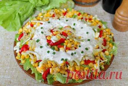 Салат с кукурузой, болгарским перцем и сельдереем   Краше Всех