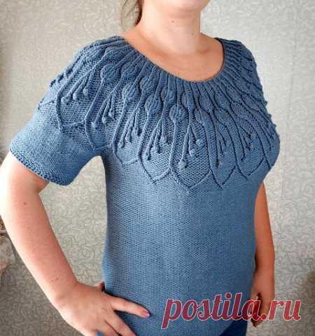 Вязание пуловера спицами с круглой кокеткой