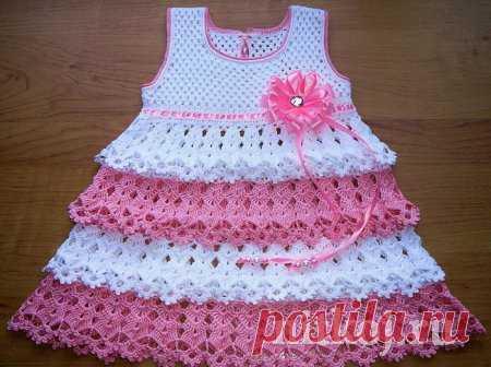 платье для девочки крючком от кузнецовой юлии ниткой вязаные