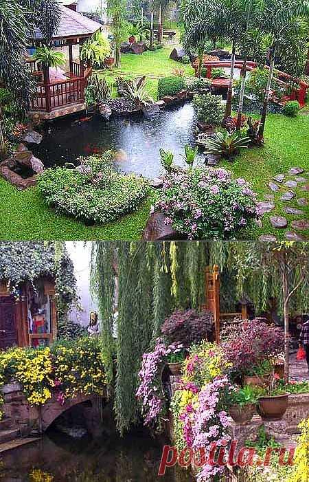 El estanque hermoso en la casa de campo: escogemos correctamente el lugar