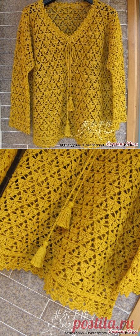 пуловер ажурный крючком Phalaenopsis вязание от светланы заец
