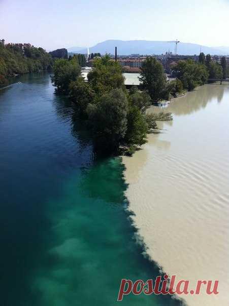 Слияние двух рек в Женеве, Швейцария