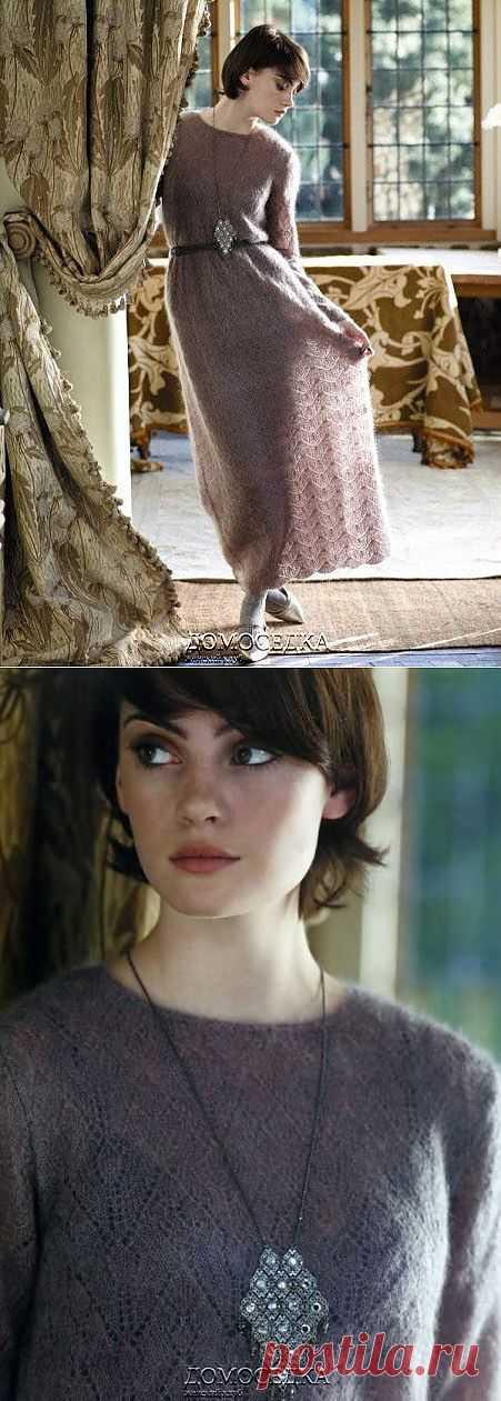 Длинное вязаное платье | ДОМОСЕДКА