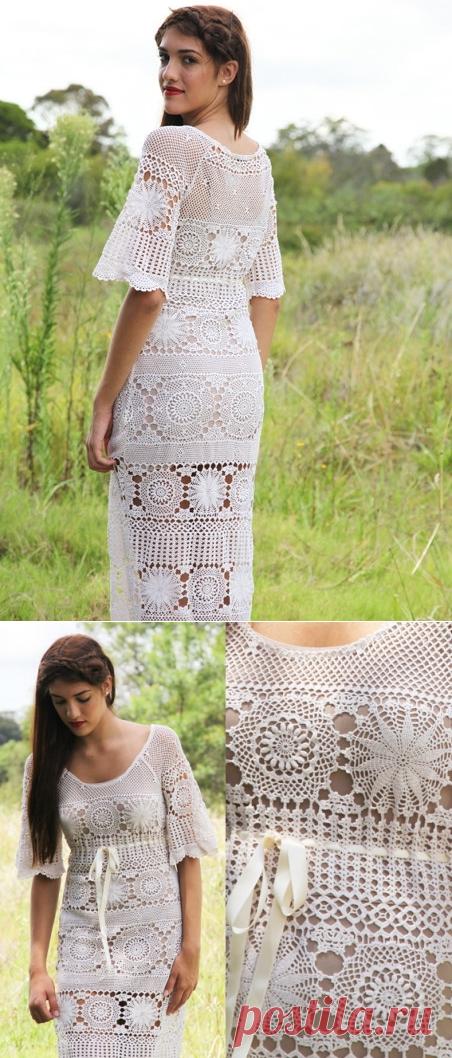 Романтическое платье крючком схема. Длинное платье из круглых мотивов крючком |