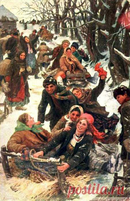 """Масленица. Четвертый день - разгуляй! Картина Ф. В. Сычкова """"Праздничная забава"""""""