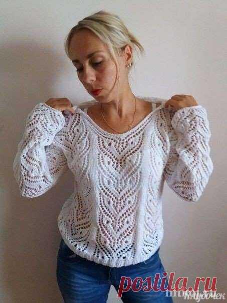 Пуловер спицами с невероятно красивым ажурным узором | Краше Всех