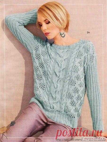 Стильный пуловер цвета мяты от Lana Grossa   Описание: Ваше чувство вкуса можно ярко продемонстрировать связанным на спицах пуловером цвета мяты, в работе над которым применены различные узоры. Размеры узорчатого пуловера: 38/40, 46/48. Нужны для работы: прямые спицы под номером №3,5 и №4, кругообразные спицы с номерным обозначением №3,5; пряжа Ambiente Lana Grossa цвета мяты (состав: кашемир – 15%, хлопок – 85%) – 450/500 грамм (согласно размеру).  Основные приемы вязания...
