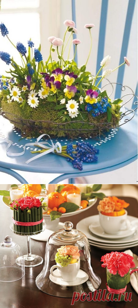 Table layout with flowers — Luxury and a cosiness