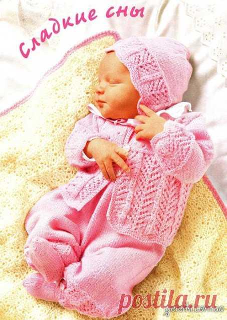 Комплект для новорожденного спицами. Описание и схемы  Чепчик, ползуны, жакетик, носочки и плед, вязаные спицами - отличный комплект для новорожденного на выписку или крестины. Подробное описание и схемы      источник