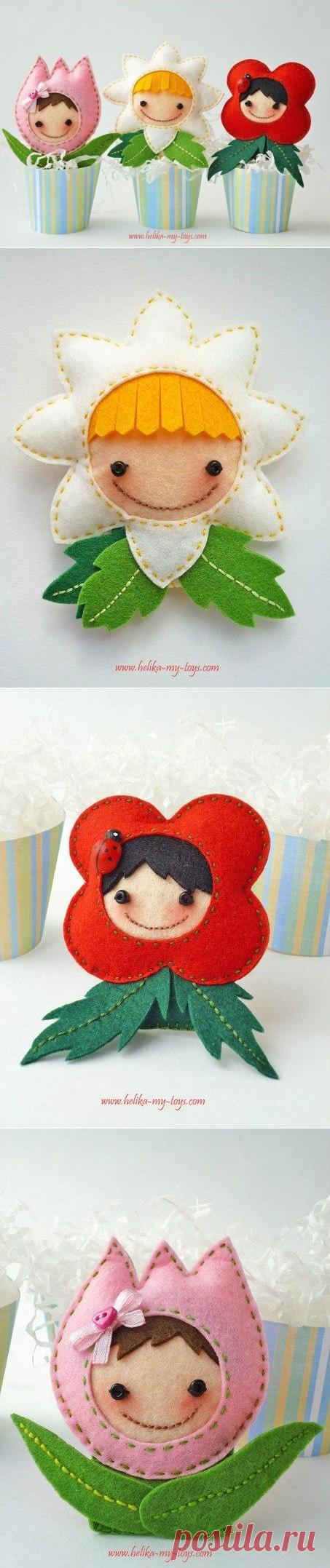 Милые цветочки из фетра — Сделай сам, идеи для творчества - DIY Ideas