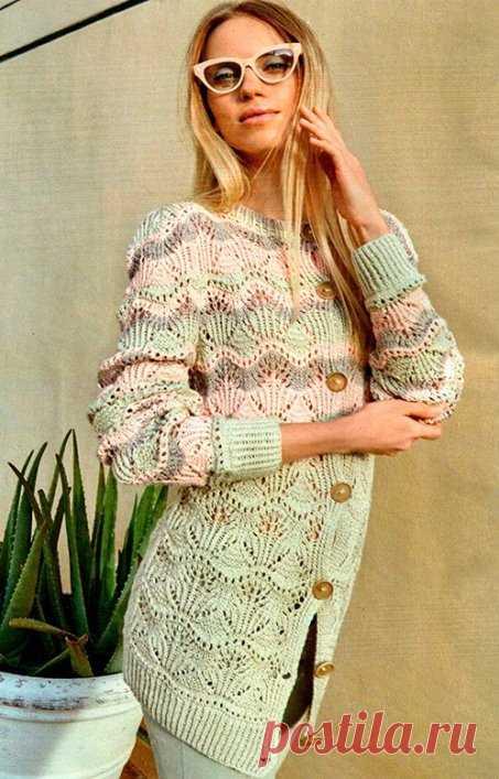 Как связать пуловер с полупатентным узором