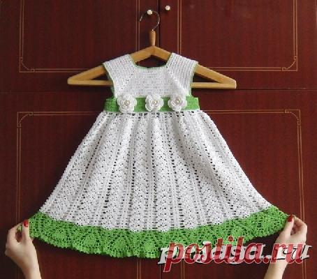 детские платьясхемыподробное описание вязание крючком платья и