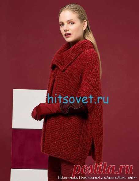 Вязание спицами - Красный Жакет-пончо спицами платочной ...