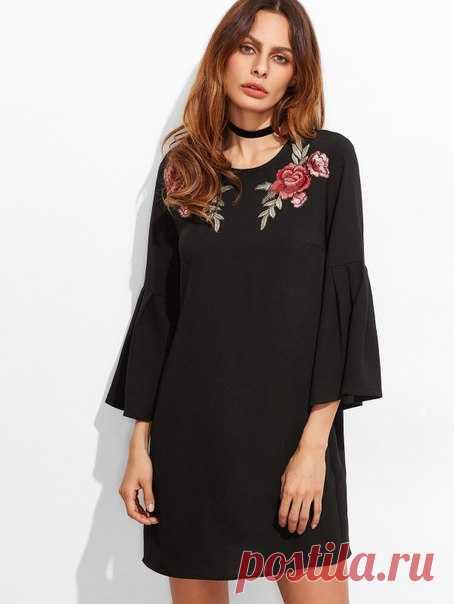 3890b2e0843e91 Маленькое черное платье с вышивкой. Подборка фото Шитье | простые выкройки  | простые вещи #