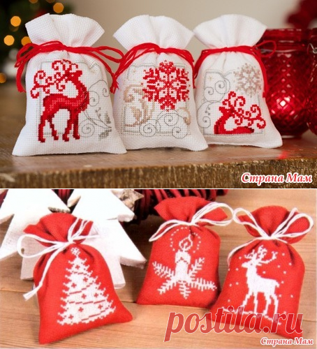 Мешочки с рождественскими мотивами - Мир монохромной вышивки - Страна Мам