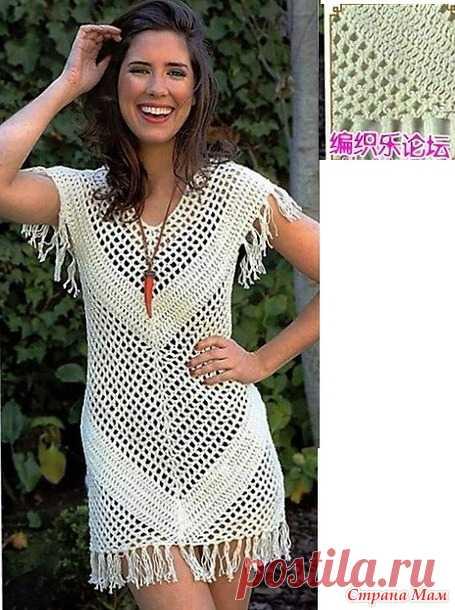 c6f6ad908c0 Пляжное ажурное платье с бахромой. - Все в ажуре... (вязание крючком ...