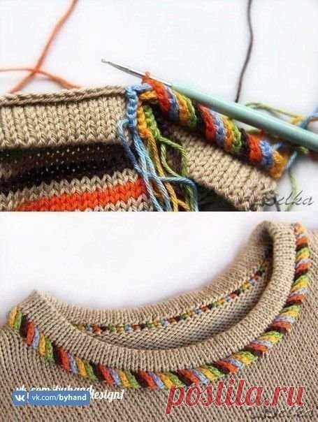 Как красиво оформить горловину свитера