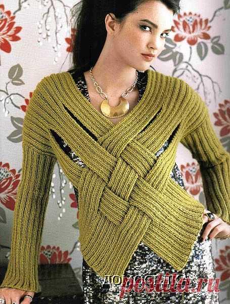 Оригинальный пуловер из полос | ДОМОСЕДКА