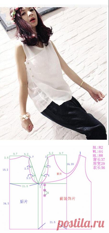 Шитье | простые выкройки | простые вещи.Блузка с запахом, выкройка на размер 40/42 (рос.)