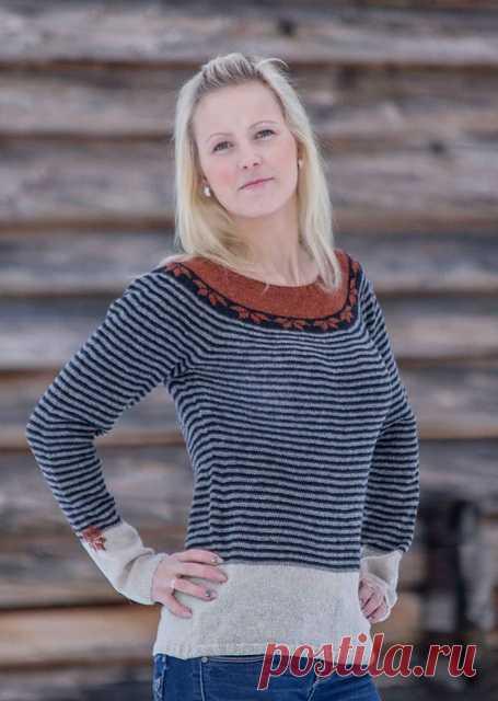 acc9a051d8f Джемпер Октябрьская ночь (Oktobernatt) с круглой кокеткой жаккардовым  норвежским узором спицами.