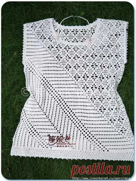 топ филейка с диагональным рисунком вязание для женщин вязание
