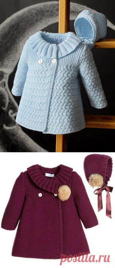 детское пальто спицами схема узора плетенка выкройка вязание