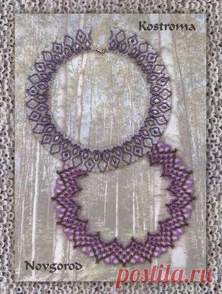 Схемы воротников бисерных. сделать своими руками