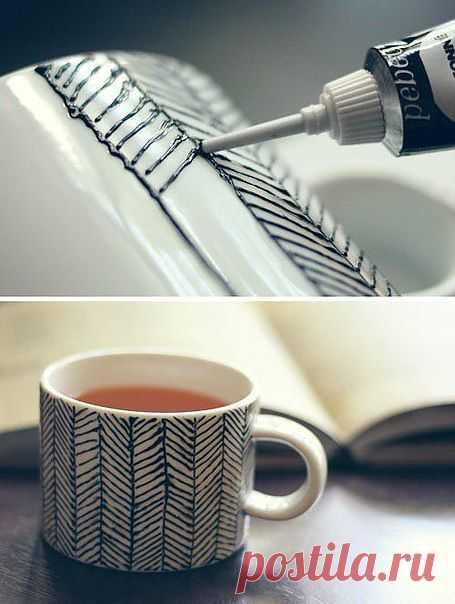 Декор чашки акриловой краской: нет ничего проще!
