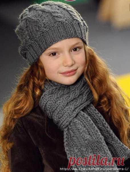 шапка и шарф для девочки спицами вязание спицами для детей постила