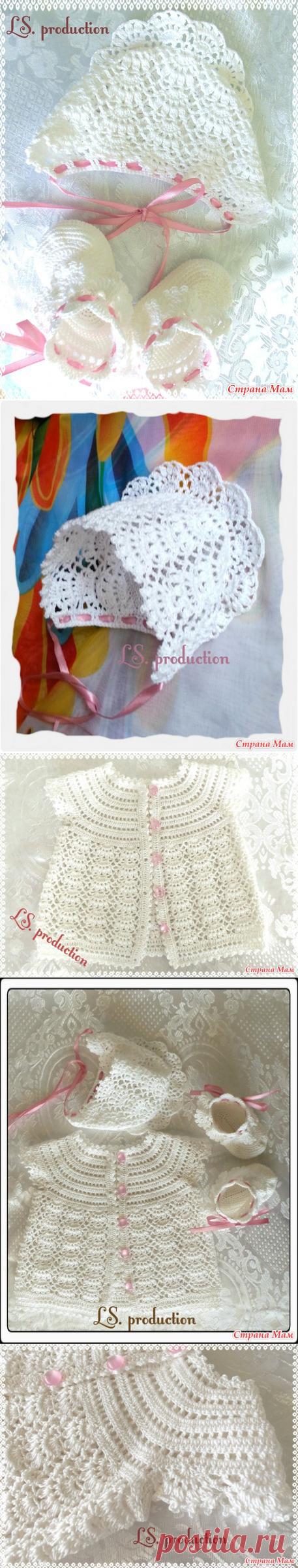 Комплект крючком для новорожденной - Вязание для детей - Страна Мам