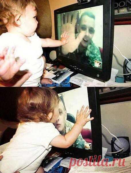 Скайп дочурки с отцом-военным