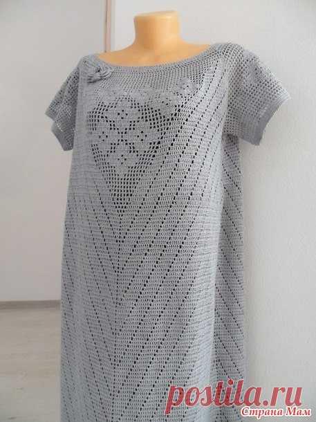 жемчужное платье в пол в технике филейного вязания крючком схемы