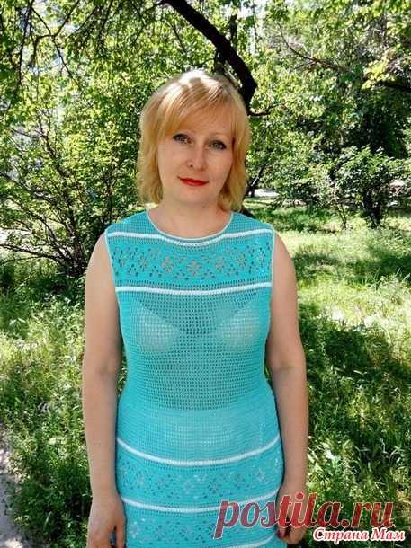 Голубое платье филейной вязкой от Ольги Ивановой 1 (Страна Мам ... f9b6115005e4b