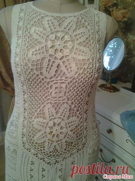 """. Я назвала его """"Маркетри"""" (белое ажурное платье) - Все в ажуре... (вязание крючком) - Страна Мам"""