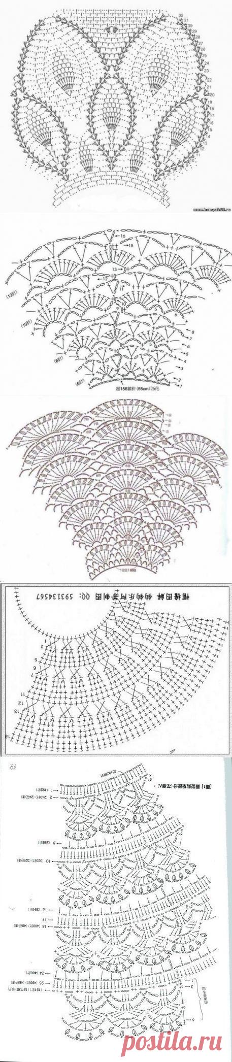 Подборка схем для вязания кокеток у платьев и туничек...